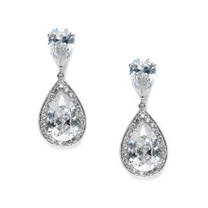 Glam Luxe Double Drop Crystal Bridal Earrings