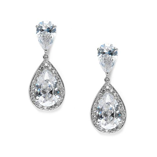 Silver/Rhodium Glam Luxe Double Drop Crystal Earrings