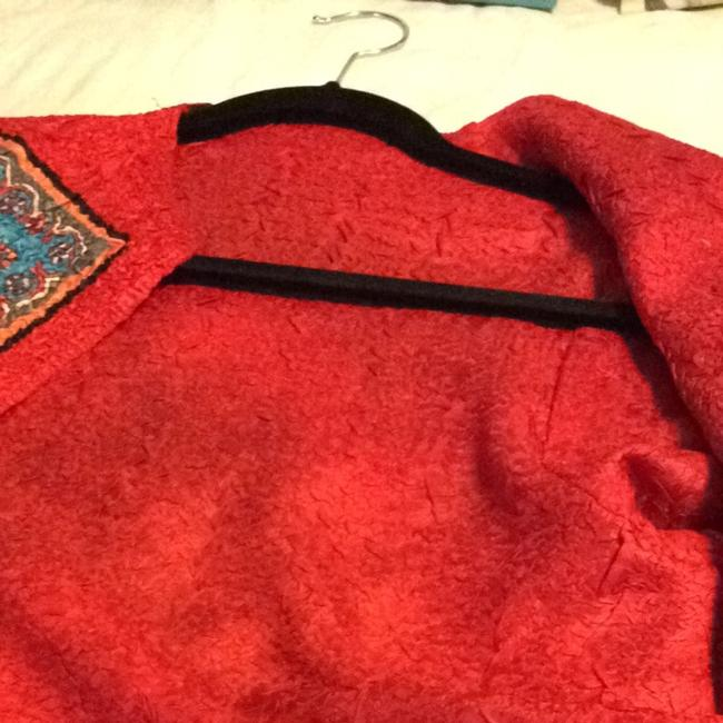UNKNOWN VIVID DEEP RED, YET BRIGHT/ THE OTHER SIDE IS RED TRIM, THEM ALMOST EVERY COLOR. Jacket