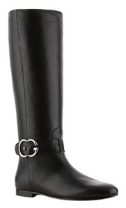 Gucci Leather Riding Pebbled Size 38 Brand New Designer Logo Made In Italy Black Boots