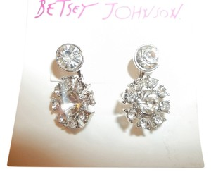 Betsey Johnson Bridal Betsey Johnson Silver Tone Crystal Flower Front & Back Earrings Cuffs NWT $25