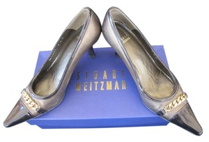 Stuart Weitzman Leather/patent Gambit Brass Pumps