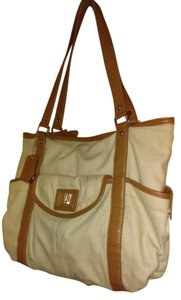 Tignanello Canvas Stylish Cream Brown Chic Under $50 Sale Just Reduced Summer Spring Office School Shoulder Bag