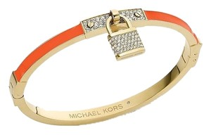Michael Kors with BONUS**Gold-Tone Tangerine Pave Padlock Hinged Bangle
