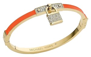 Michael Kors Gold-Tone Tangerine Pave Padlock Hinged Bangle