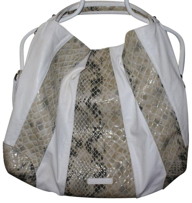 Item - Extra Extra Large Bcbg Sac In Snakeskin Print White and Cream Snake Pattern Leather Leather Hobo Bag