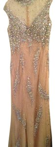 Nude Maxi Dress by Jovani Diamonds Sparkle Maxi Prom Wedding Wedding Prom Beige Diamonds Long Hot New Cheap