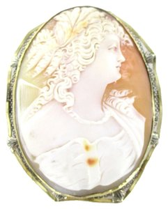 14kt Solid Yellow Gold Lady Cameo Pendant Pin Brooch