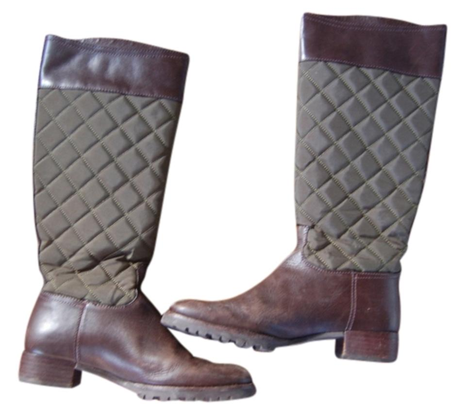 Tory Burch Green & High Brown Rowan Qulited Canvas Leather High & Boots/Booties 1ac490