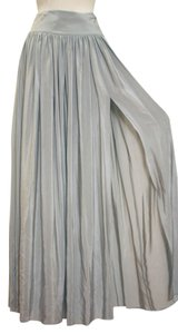 Cut25 Yigal Azrouel Silk High Slit Pleated Maxi Skirt gray