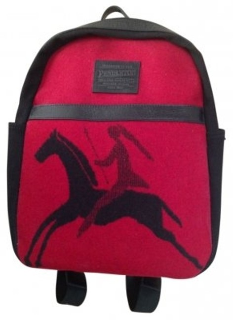 Item - Canvas with Leather Detail. Red and Black Wool Backpack