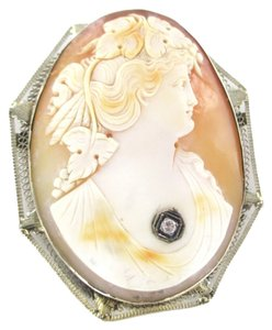 14kt Solid White Gold Lady Cameo Pendant Pin Brooch with 1 Diamond