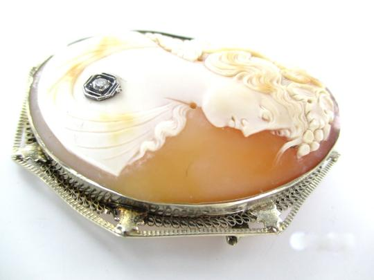 Other 14kt Solid White Gold Lady Cameo Pendant Pin Brooch with 1 Diamond