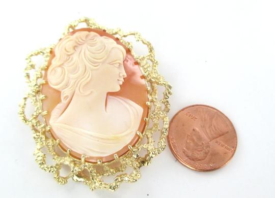 Other 14kt Solid Yellow Gold Lady Cameo Pendant Pin Brooch