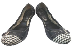 Tod's Scrunchy Black Leather BLACK/WHITE Flats