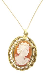 Other 14kt Solid Yellow Gold Lady Cameo Pendant with 14k solid yellow gold Necklace