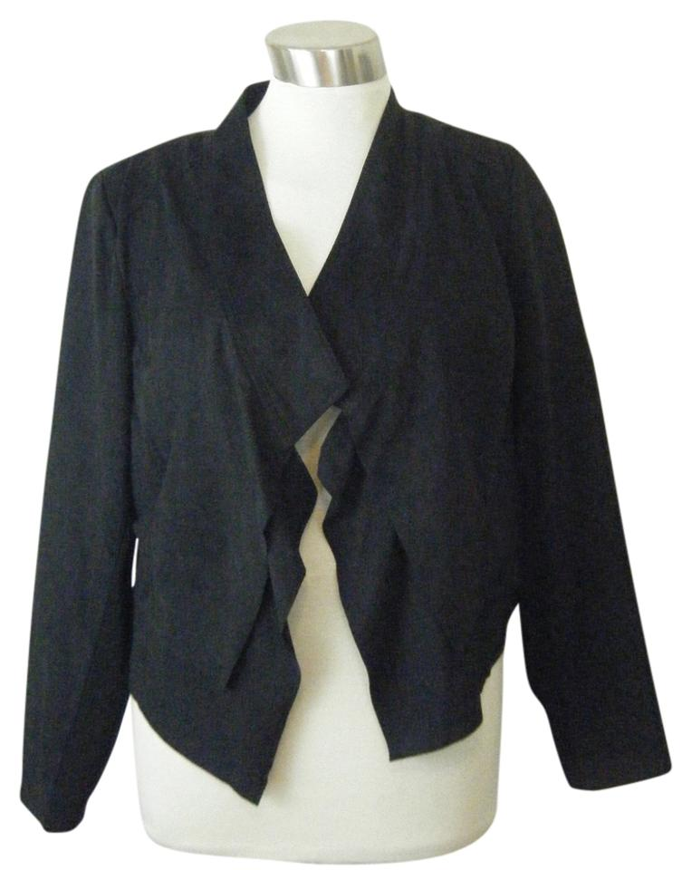 1e14b69cc0f INC International Concepts Black Jacket 1x By Faux Suede Draped Jacket  Front and Deep Blazer. Size  20 (Plus ...