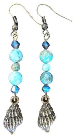 Other Handmade Seashell Turquoise Earrings with Swarovski Crystals