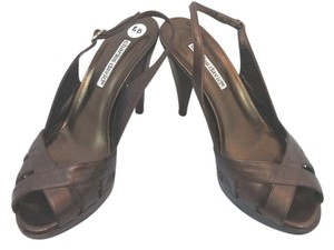 Charles David Brown Leather Slingback Heels METALLIC BROWN Sandals