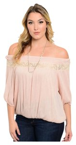 Other Boho Bohemian Pastel Xlarge Work Professional Flattering Flattering Sexy Embroidery Lace Stretchy Tunic Womens Juniors Top Blush Pink