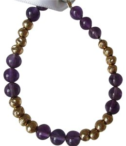 AUTHENTIC `14K YELLOW GOLD AND AMETHYST BEAD BRACELET