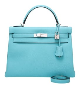 Hermès Kelly 32cm Atoll Blue Shoulder Bag