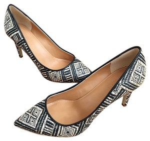 J.Crew Raffia Tan Geometric Tribal black and cream Pumps