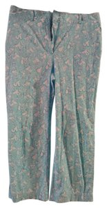 Lilly Pulitzer Designer Stylish Preppy Capris Blue & White