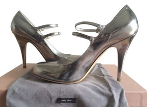 Miu Miu Metallic Mary Janes Strappy Silver Pumps