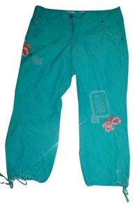 Miss Me Capris Teal with emboidered colored flowers