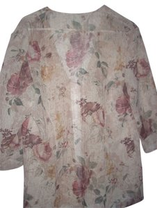 R & M Richards Tan Beige Flowers Brown Jacket Elegant Retro Semi-formal Wear Tunic