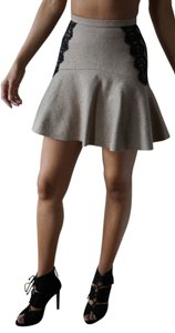 Nonoo High-waisted Chic Wool Mini Skirt cream and lace in the sides