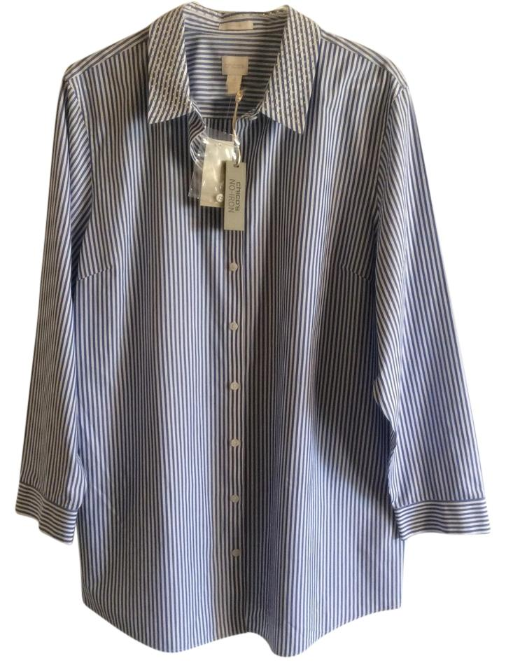 Chico 39 s blue and white no iron blue white shirt button for Best no iron shirts