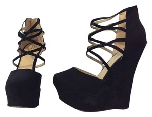 ShoeDazzle Ramya Platform Black Wedges