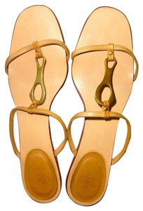 Gucci Brass Hardware Tan Sandals