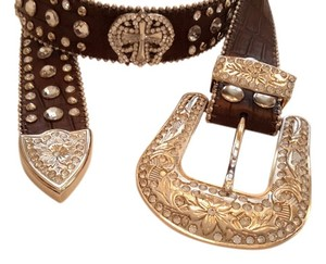 NEW Western Belt -Brown and Silver with Crystal