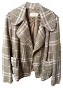 Burberry London Tweed Wool Jacket Check Plaid 12 L Pea Coat