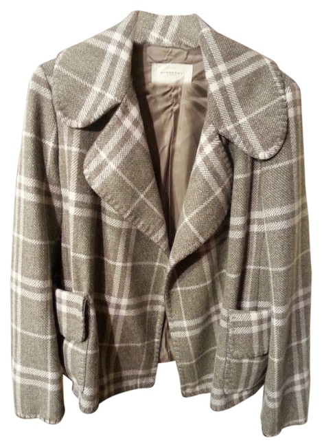 Burberry London Tweed Wool Jacket Check Plaid L Pea Coat