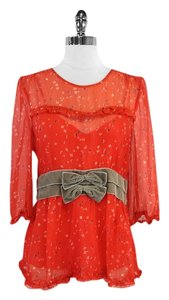 Marc Jacobs Floral Silk Top Red