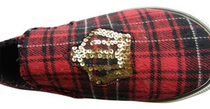 UNIONBAY Sequin Distressed red plaid Flats