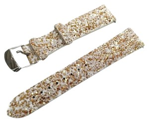 Michele NEW! Michele White & Gold Glitter 20mm Leather Holiday Watch Band