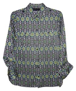 Jones New York Top Pattern with black,white,green and light yellow