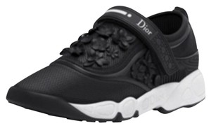 Dior Nappa Sneaker And White Flower Leather Hook And Loop Hand Embroided Black Athletic