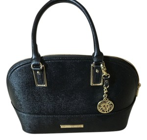 Anne Klein Shimmer Down Large Dome Tote Saffiano Faux Leather Feet Satchel in Black