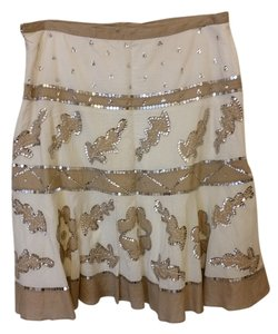 BCBGMAXAZRIA Midi Skirt Ecru w/Tan Designs outlined by Silver Sequins