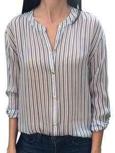 Juicy Couture Blouse Sheer Button Down Shirt White and Navy Stripe