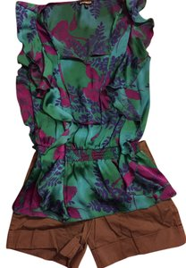 Express Silk Floral Sleeveless Top Teal purple green