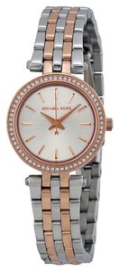 Michael Kors Crystal Bezel Silver and Rose Gold Small Ladies Designer Watch