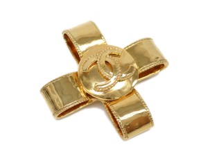 Chanel Auth CHANEL Cross Broach Metal Gold (BF078597)
