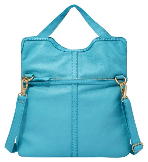 Fossil Leather Tote in TIDAL BlUE